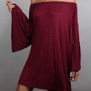 Dresses & Skirts - Wine colored off the shoulder